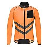 WOSAWE Giacca da Ciclismo da Uomo Ultraleggera Wind Stopper Cappotto Impermeabile Giacca Traspirante a Maniche Lunghe (BL218 Arancia XXXL)