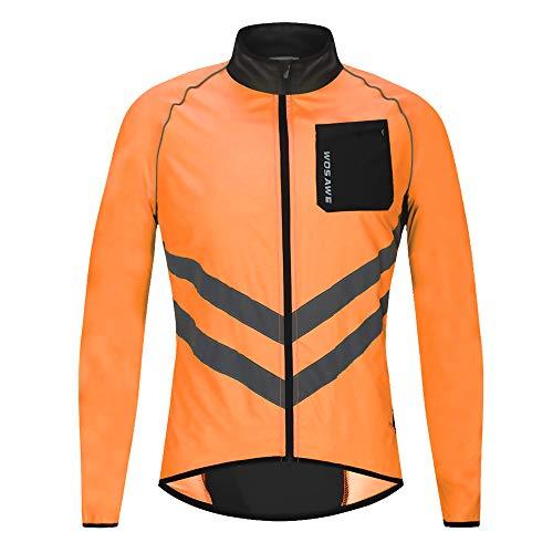 WOSAWE Winddichte Herren Fahrradjacke Atmungsaktiv Wasserabweisend Softshelljacke Lange Ärmel Laufjacke (BL218 Orange Jacken XL) -