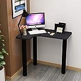 YB&GQ Angolo Computer Scrivania,Robusto Corner Desk con Gambe A Tubo di Ferro,casa Tavoli Ufficio Computer Workstation Assemblaggio Facile Nero A 80x60x74cm(31x24x29inch)