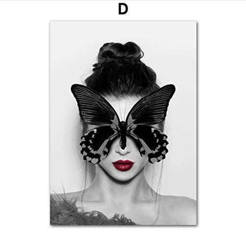 Vogue Mädchen Schmetterling Blume Liebe Salon Wandkunst Leinwand Malerei Nordic Poster Und Drucke Wandbild Für Wohnzimmer Dekor Rahmen 50x70 cm