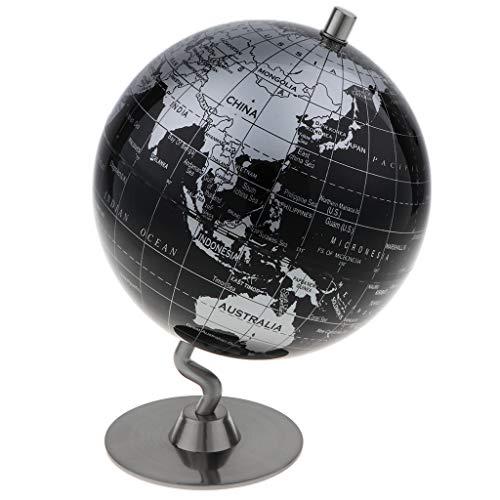 KESOTO 14cm Globo Terrestre Mapa Mundial Geográfico en Inglés con Base Soporte Juguete de Aprendizaje de Geografía de Niños Muchachos - Negro + Plata