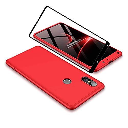 YFXP Xiaomi Mi Mix 2S Funda - Funda Xiaomi Mi Mix 2S 360 Grados Integral para Ambas Caras + Cristal Templado, Luxury 3 in 1 PC Hard Skin Carcasa Case Cover para Xiaomi Mi Mix 2S Rojo