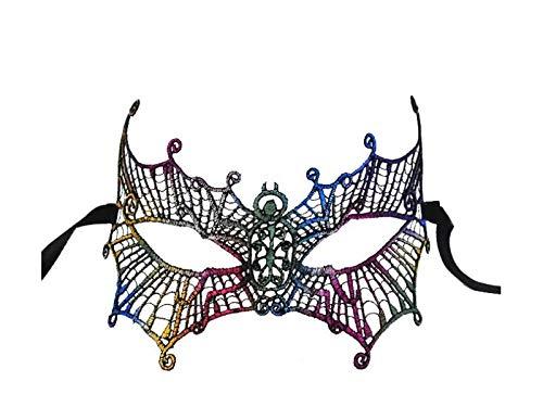 FERFERFERWON Partydekorationen Fledermaus Lace Ausschnitt Maske Half Face Venezianische Maskerade Maske für Halloween-Party (bunt) Requisiten