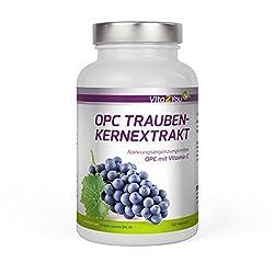OPC Traubenkernextrakt mit Vitamin C - 180 Kapseln - 179mg pro Kapsel reines OPC - entspricht 59,7% OPC-Anteil - Hochdosiert - Premium Qualität - Made in Germany