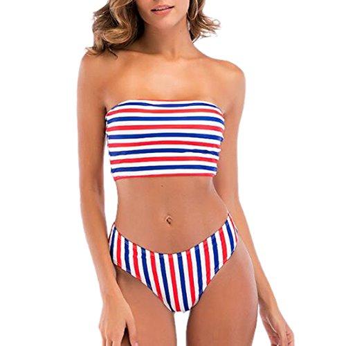 QIYUN.Z Frauen Streifen Stil Bikini Sets Trägerlosen Badeanzug Tops Strand Bademode Zweiteilig