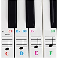 Piano Sticker For 61 Key Keyboards -Transparent and Removable with Free Piano Ebook