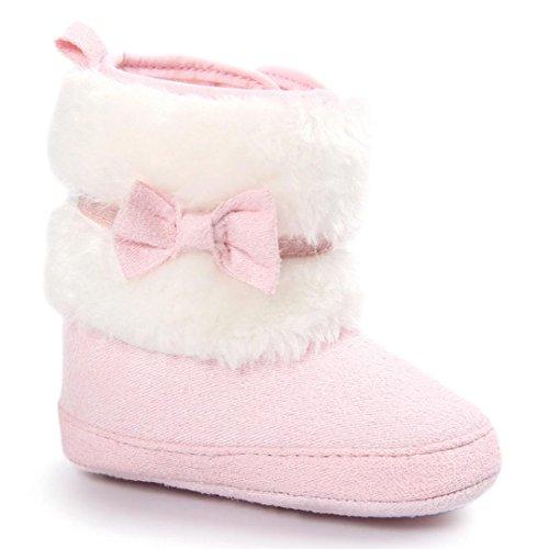 Baby Stiefel, FNKDOR Mädchen Jungen Rutschfest Weiche Bowknot Schuhe für Neugeborene 0-18 Monate (6-12 Monate, Rosa)