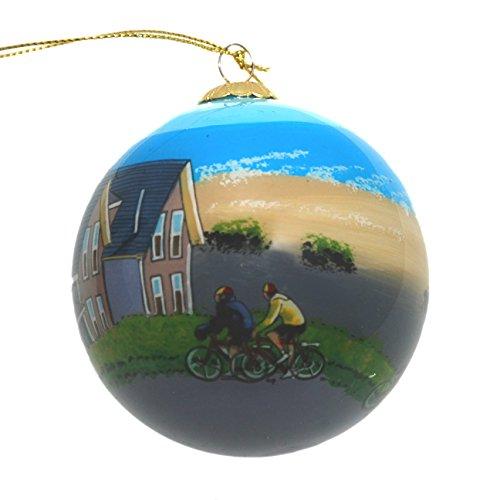 Handbemalt Glas Weihnachten Ornament-Biking Along Cape Cod Ferienhäuser - -
