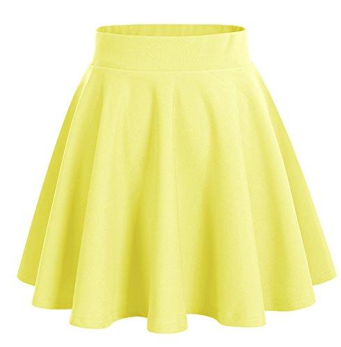Bridesmay Damen Mini Rock Basic Solid vielseitige dehnbaren informell Minikleid Retro Sexy Rock Faltenrock Yellow