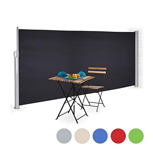 Relaxdays Seitenmarkise ausziehbar, Sichtschutz & Windschutz, Kassettenmarkise zum Stellen, HxB: 160 x 300 cm, anthrazit