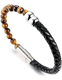 """Halukakah «SALUT LA TERRE» :Le Bracelet de l'homme en Cuir Véritable avec les Perles de Pierre Naturelle,Fermoir Magnétique Intelligent,8.07""""/ (21cm ) avec le Boîte-cadeau Gratuit"""