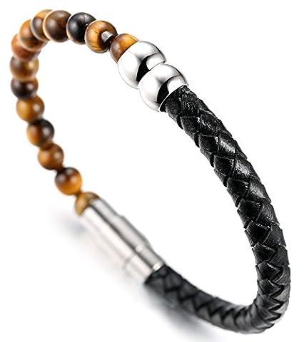 """Halukakah «SALUT LE TERRAIN» :Le Bracelet de l'homme en Cuir Véritable avec les Perles de Tiger Eye Naturelle,Fermoir Magnétique Intelligent,8.07""""/ (21cm ) avec le Boîte-cadeau Gratuit"""