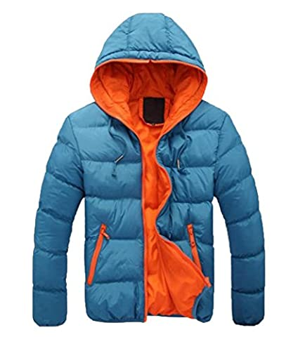 EKU Men's Zipper Hoodie Quilted Solid Hit Color Down Jacket Coat XL Sky Blue