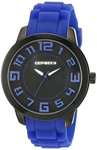Cepheus Women's Quartz Watch with Black Dial Analogue Display and Blue Silicone Strap CP604-623