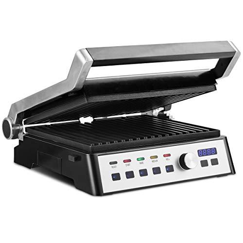 DREAMADE Appareil Grille Multifonction 2000 W, Machine à Grill, Sandwich avec 2 Plaques de Fer Antiadhésives et Détachables et 5 Positions Réglables, Panneau Tactile 35 X 36 X 17 CM