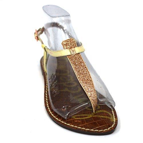 Sam Edelman post-Sandalen, flache Spitze patent Leder, RRP £ 138 Gold-Brown