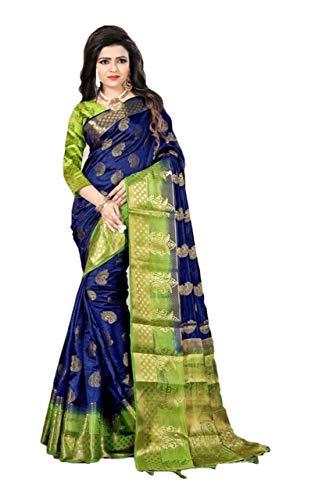 RAJ SHREE FASHION Banarasi Silk Saree Frauen indische Hochzeit ethnischen Sari & Unstitch Bluse Stück Sari de-03 -