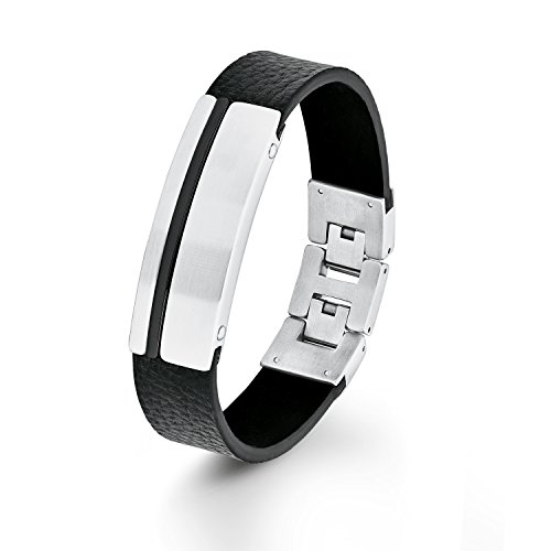 s.Oliver Herren-Armband IP Black Beschichtung Edelstahl Leder 22 cm-2012462