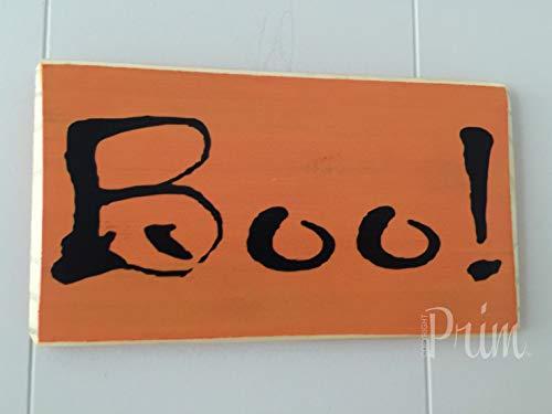 Yohoba 10 x 6 Boo! Kürbis-Aufnäher Herbst Halloween gruselig Dekorative Wandkunst Home Family Dekoration Design Holzplakette Schild Schild