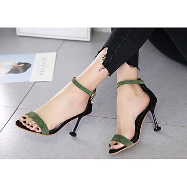 Zhenfu Femmes Sandales En Caoutchouc Confort Estivales Promenades En Plein Air Comfort Strass Boucle Stiletto Talon Vert Noir Beige Moins 1in Vert