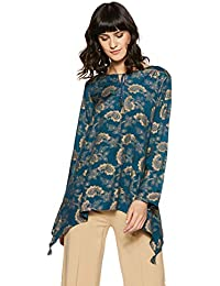 global desi Women's Floral Regular Fit Top (EC18G162TPSTN_Teal_S)