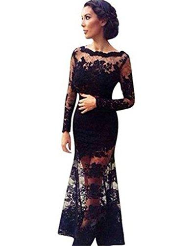 Damen Open Back offenem Rücken bodenlangen Abendkleider Langarm Sommerkleid langen Partykleider (Kleid Open Back Lange)