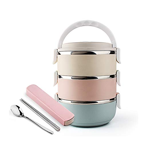MLXBWH Edelstahl Isolierte Lunchbox, Multi-Layer-Abnehmbare 3-Schicht-Student Kinder Lunchbox Isoliert Fass Lunchbox