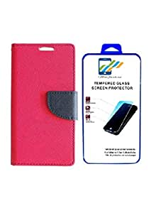 Mobi Fashion Flip Cover For Sony xperia Z1 With Tempered Glass - Pink
