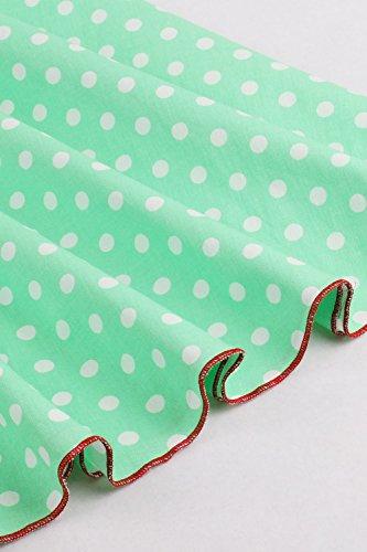 Babyonline – Damen 50er, 60er Vintage Kleid Petticoat Polka Dots Knielang Grün - 6
