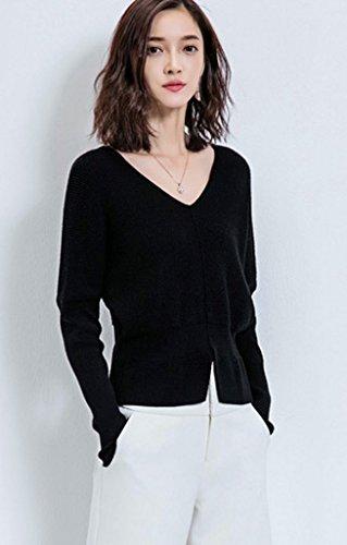 Bigood Femme Cardigan Col V Blouson Manteau en Tricot Sweater Montant Lâche Mode Noir