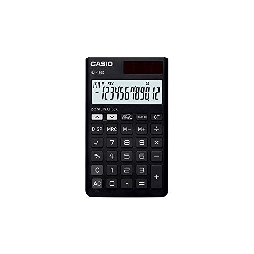 Casio NJ-120D-BK 150 Steps Check & Correct Portable Colourful Calculator (Black)