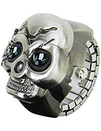 SODIAL(R) Bronce Cubierta del Reloj del Anillo De Dedo del Craneo para Unisex