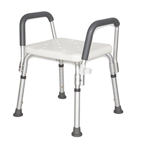 LXN Deluxe höhenverstellbarer Aluminium Bad/Duschstuhl mit Rücken- und Duschkopfhalterung -