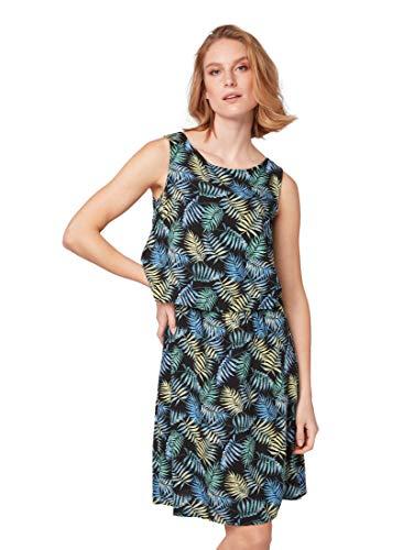 TOM TAILOR Casual Damen Gestreiftes Kleid, Mehrfarbig (Black Tropical Desig 17262), (Herstellergröße:38)