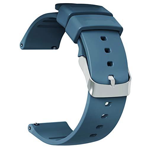 JIELIELE Correa de Silicona Suave 22mm, Liberación Rápida Clásico Correa de Reloj de Repuesto Pulsera con Hebilla de Acero Inoxidable para Samsung Gear S3/Gear 2 R380/Gear S3 Frontier/Gear S3 Frontier/Neo R381/Live R382/ Huawei Watch 2 Classic/ LG Watch (22mm, Navy Blue)