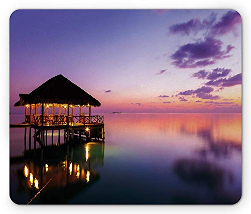 WYICPLO Tropical Mouse Pad, Arbor on Sea at Dramatic Night Paradise Maldives Sky Exquisite Coast View Art Print, Standard Size Rectangle Non-Slip Rubber Mousepad, Purple - Arbor Lager