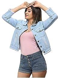 Abdullah Garment Light Blue Full Sleeves Distress Denim Jacket for Women's (Pack of 1)