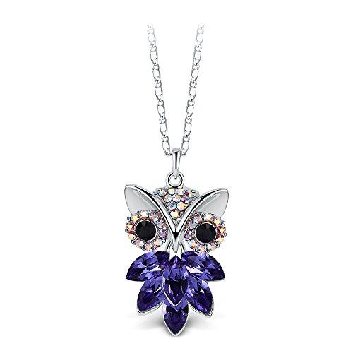 T400 Jewelers Eule Anhänger Halskette mit Swarovski-Kristallen Valentinstag Geschenk gemacht