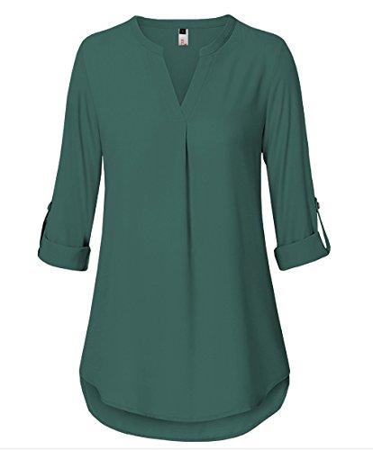 ELFIN Damen Freizeit Lange Ärmel V-Ausschnitt Chiffon Bluse Elegante Frauen Tunika Oberteile, Grün, Large - Bluse Blazer