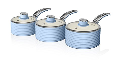 Swan Retro 3-Piece Saucepan Set with Ivory Ceramic Non-Stick Coating, Blue