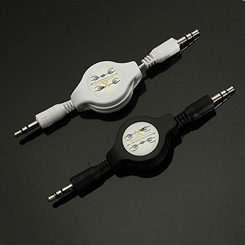 PeroFors 3,5Mm Male to Male Aux Retractable Car Stereo Mp3 Audio Cables Adapter-Black -