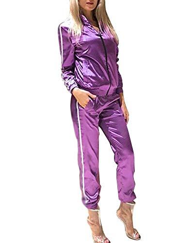 Minetom Damen Sportanzüge Jogginganzug Sexy Satin Reißverschluss Jacke Mantel Beiläufig Streifen Fitness Hose Freizeithose 2 Stück Violett DE 44