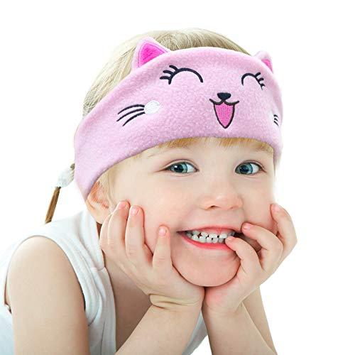 Die Begrenzung für Kinder Kopfhörer, Volume mit Ultra Thin Einstellbarer Lautsprecher Weiche Kinder Fleece-Stirnband Katze Kleinkind-Kopfhörer für zu Hause und unterwegs - Kätzchen