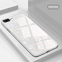 SevenPanda XiaoMi Mi 8 Hülle, Gehärtetes Glas Muster Conch Shell Glitter Pearly-Luster Painted Spiegel Stoßfänger Sparkle Bling Cover für XiaoMi Mi 8 - Weiß