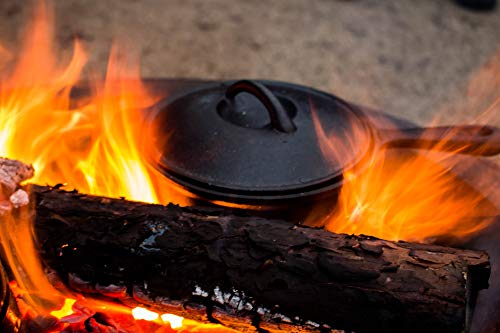 41JM%2B0mt jL - BBQ-Toro 7-teiliges Dutch Oven Set in Holzkiste, Gusseisen, bereits eingebrannt, mit Kochtopf, Stieltopf, Grillplatte, Pfanne, Deckelheber und Untersetzer