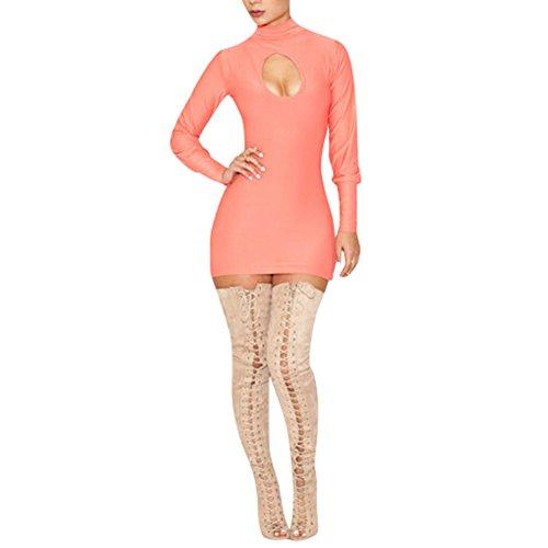 Pinkyee Damen Kleid Hellpink