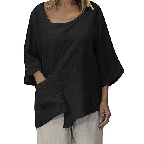 TOPSELD T Shirt Damen, Plus Size Frauen O-Ansatz Reine Farben Taschen Irregularity,Halb Sleevetops Bluse