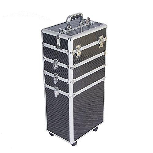 furniture-uk-shop Mallette Maquillage Trolley 4-in-1 en Aluminium Beauty Case au Milieu Stockage avec Verrous et Clés, Taille: 34 * 24 * 71cm, Poids: 6.5kg, Noir+Arg