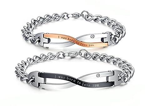 Daesar Paar Armband Set, Schwarz Rose Gold Edelstahl Link Armband mit Gravur