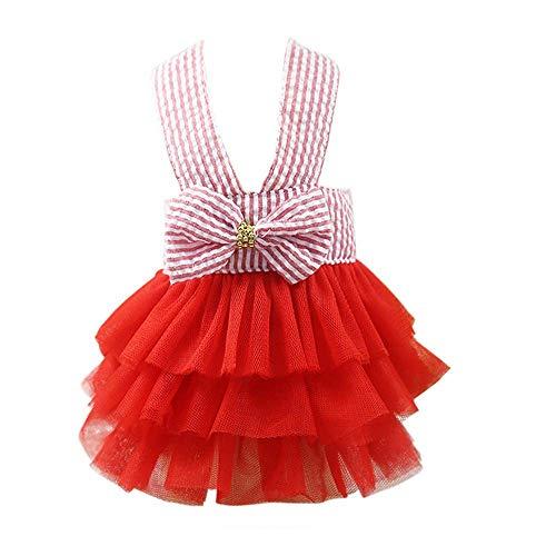Haustier Kleid,Blase Rock Streifen Spitzenkleid, Prinzessin Kleider für Hund Welpen,Haustier Hund Gestreiftes Rockkleid mit Bowknot (Rot, M)
